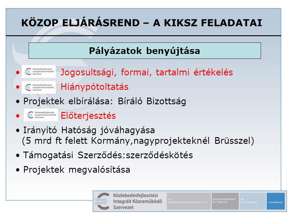 KÖZOP ELJÁRÁSREND – A KIKSZ FELADATAI Jogosultsági, formai, tartalmi értékelés Hiánypótoltatás Projektek elbírálása: Bíráló Bizottság Előterjesztés Irányító Hatóság jóváhagyása (5 mrd ft felett Kormány,nagyprojekteknél Brüsszel) Támogatási Szerződés:szerződéskötés Projektek megvalósítása Pályázatok benyújtása