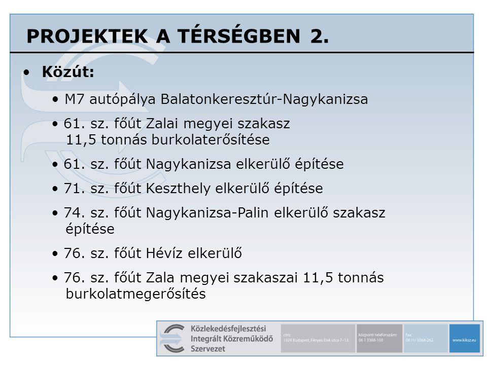 PROJEKTEK A TÉRSÉGBEN 2.Közút: M7 autópálya Balatonkeresztúr-Nagykanizsa 61.