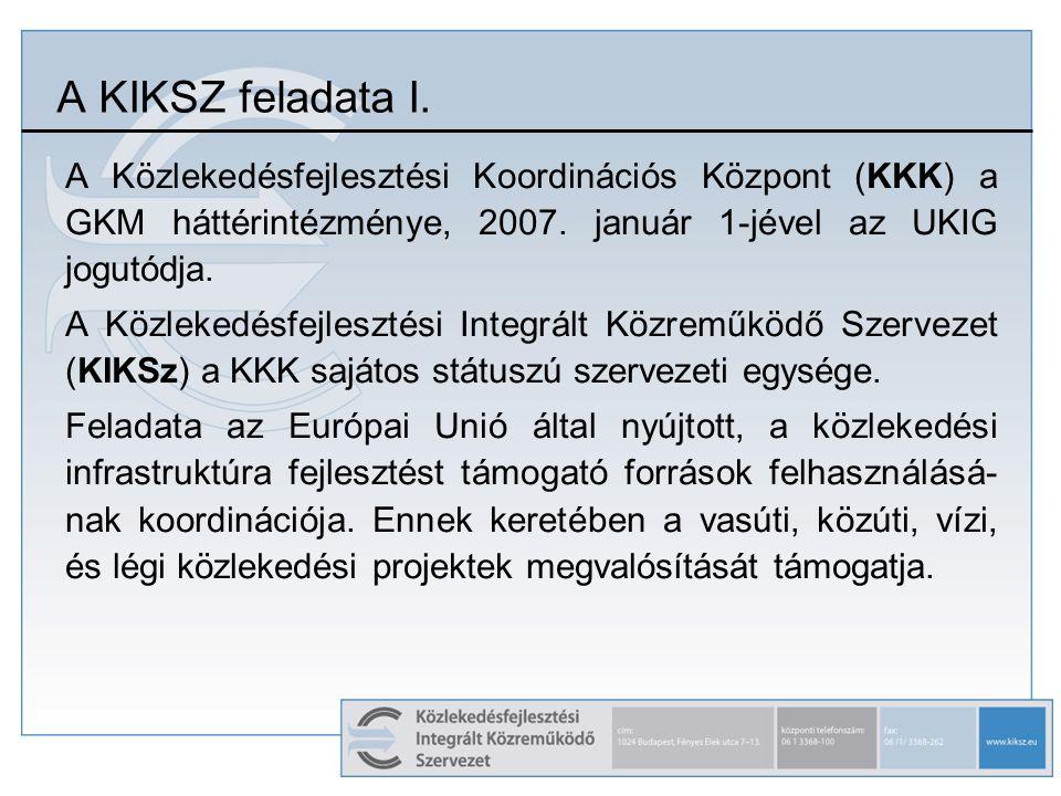 A KIKSZ feladata I. A Közlekedésfejlesztési Koordinációs Központ (KKK) a GKM háttérintézménye, 2007. január 1-jével az UKIG jogutódja. A Közlekedésfej
