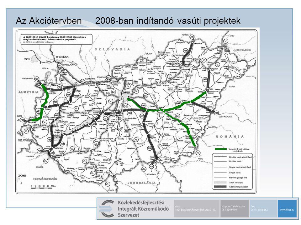 Az Akciótervben 2008-ban indítandó vasúti projektek