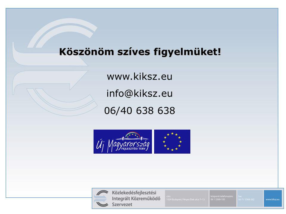 Köszönöm szíves figyelmüket! www.kiksz.eu info@kiksz.eu 06/40 638 638