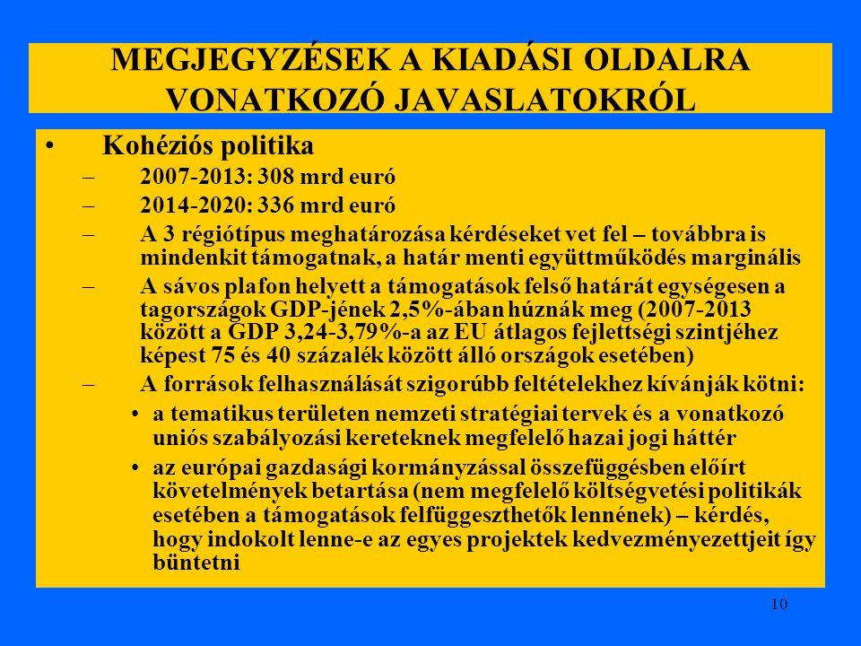 10 MEGJEGYZÉSEK A KIADÁSI OLDALRA VONATKOZÓ JAVASLATOKRÓL Kohéziós politika –2007-2013: 308 mrd euró –2014-2020: 336 mrd euró –A 3 régiótípus meghatár
