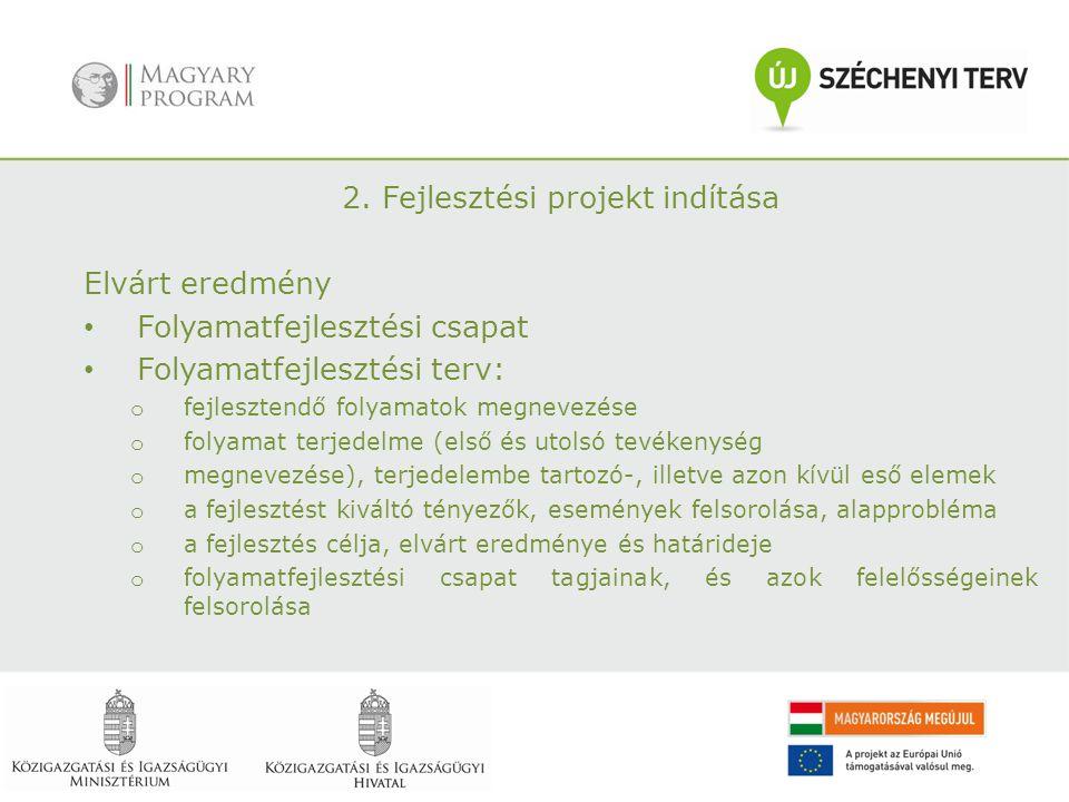 2. Fejlesztési projekt indítása Elvárt eredmény Folyamatfejlesztési csapat Folyamatfejlesztési terv: o fejlesztendő folyamatok megnevezése o folyamat