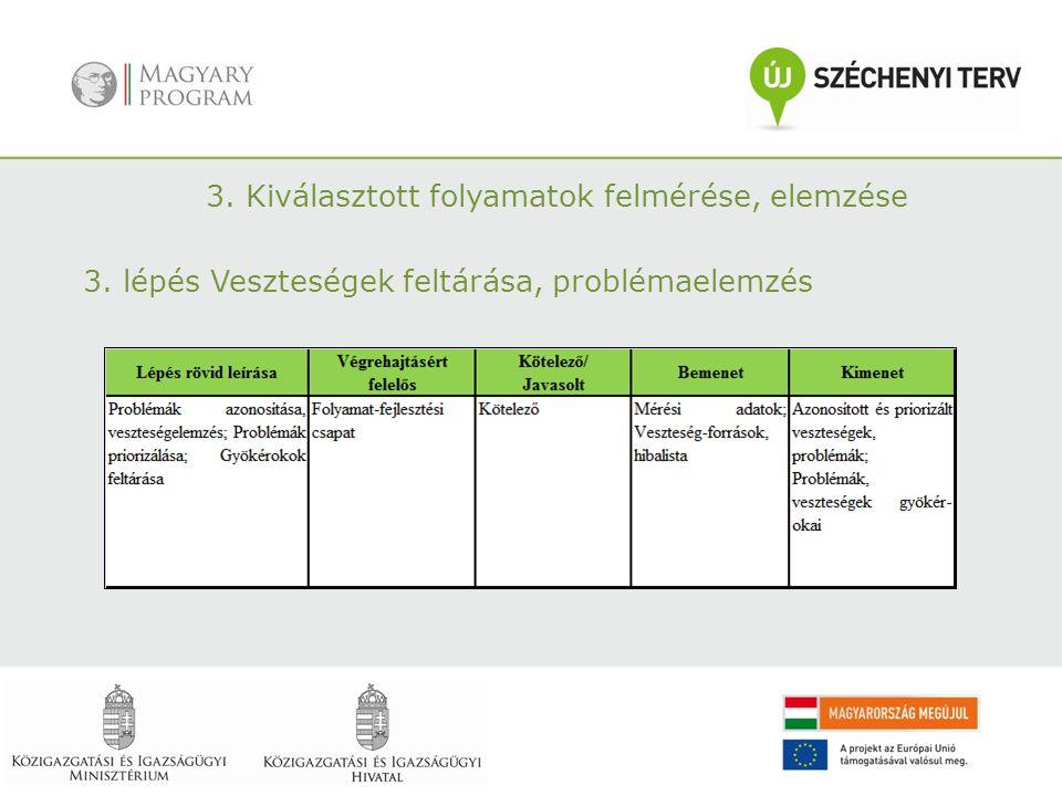 3. Kiválasztott folyamatok felmérése, elemzése 3. lépés Veszteségek feltárása, problémaelemzés