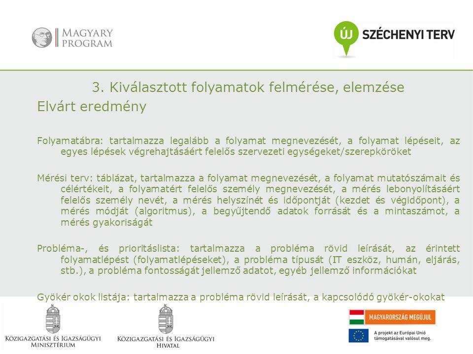 3. Kiválasztott folyamatok felmérése, elemzése Elvárt eredmény Folyamatábra: tartalmazza legalább a folyamat megnevezését, a folyamat lépéseit, az egy