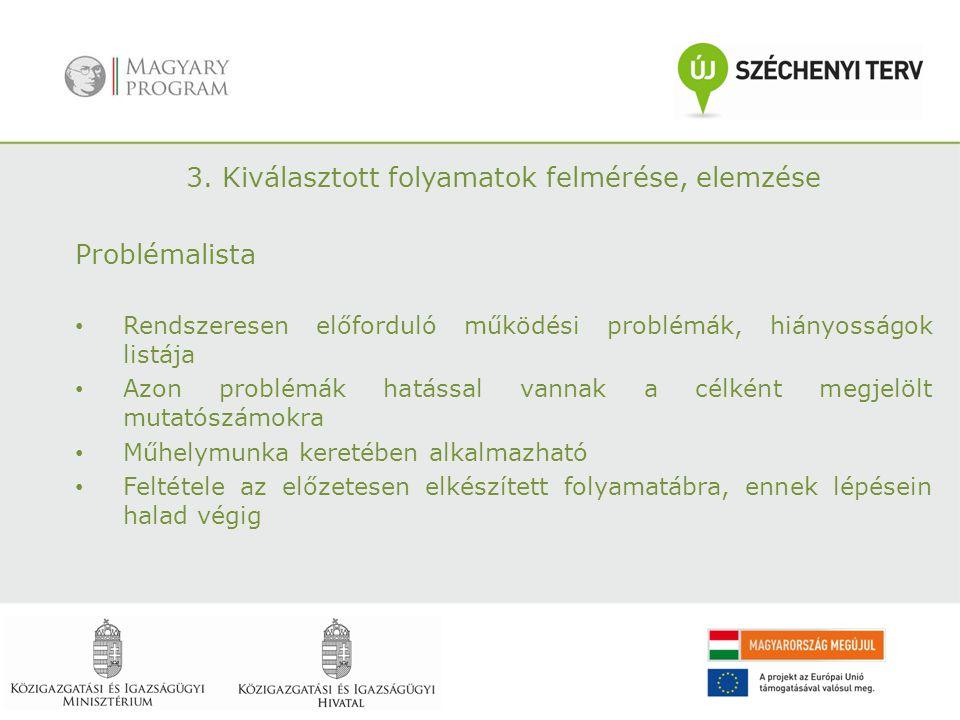 3. Kiválasztott folyamatok felmérése, elemzése Problémalista Rendszeresen előforduló működési problémák, hiányosságok listája Azon problémák hatással