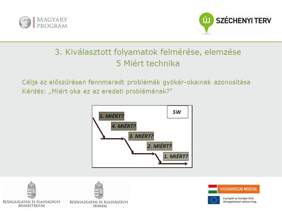 """3. Kiválasztott folyamatok felmérése, elemzése 5 Miért technika Célja az előszűrésen fennmaradt problémák gyökér-okainak azonosítása Kérdés: """"Miért ok"""