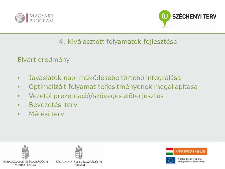 4. Kiválasztott folyamatok fejlesztése Elvárt eredmény Javaslatok napi működésébe történő integrálása Optimalizált folyamat teljesítményének megállapí