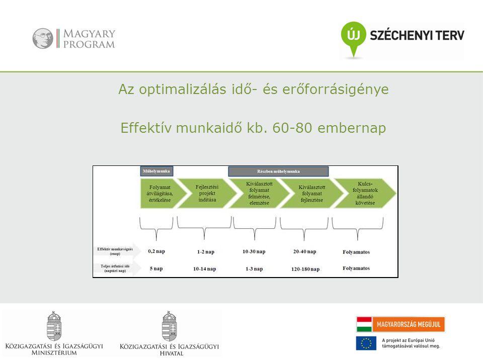 Az optimalizálás idő- és erőforrásigénye Effektív munkaidő kb. 60-80 embernap