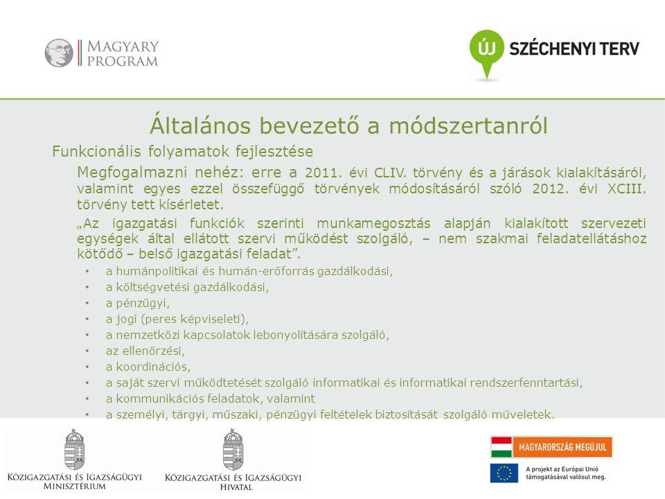 Általános bevezető a módszertanról Funkcionális folyamatok fejlesztése Megfogalmazni nehéz: erre a 2011.