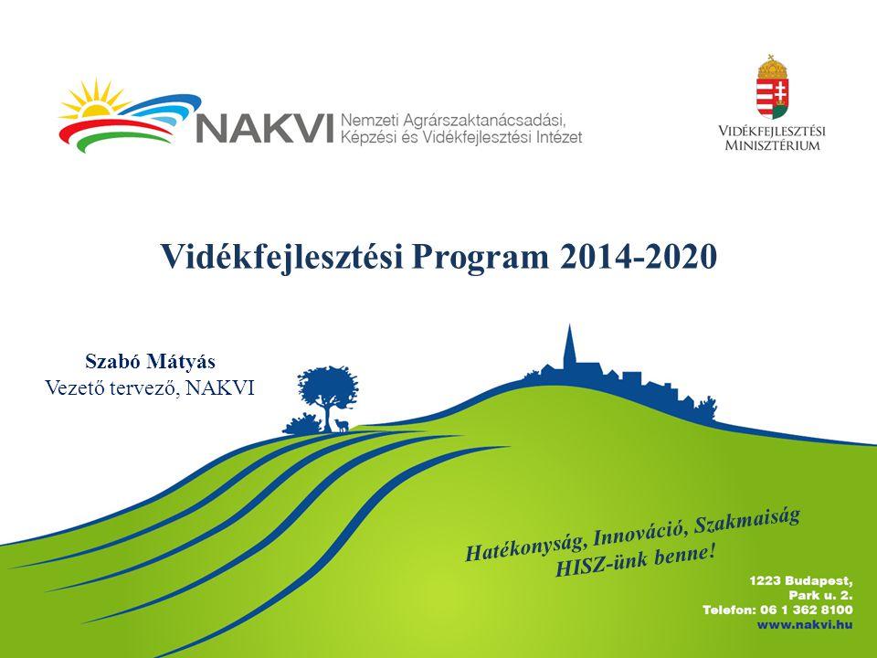 Vidékfejlesztési Program 2014-2020 Hatékonyság, Innováció, Szakmaiság HISZ-ünk benne! Szabó Mátyás Vezető tervező, NAKVI