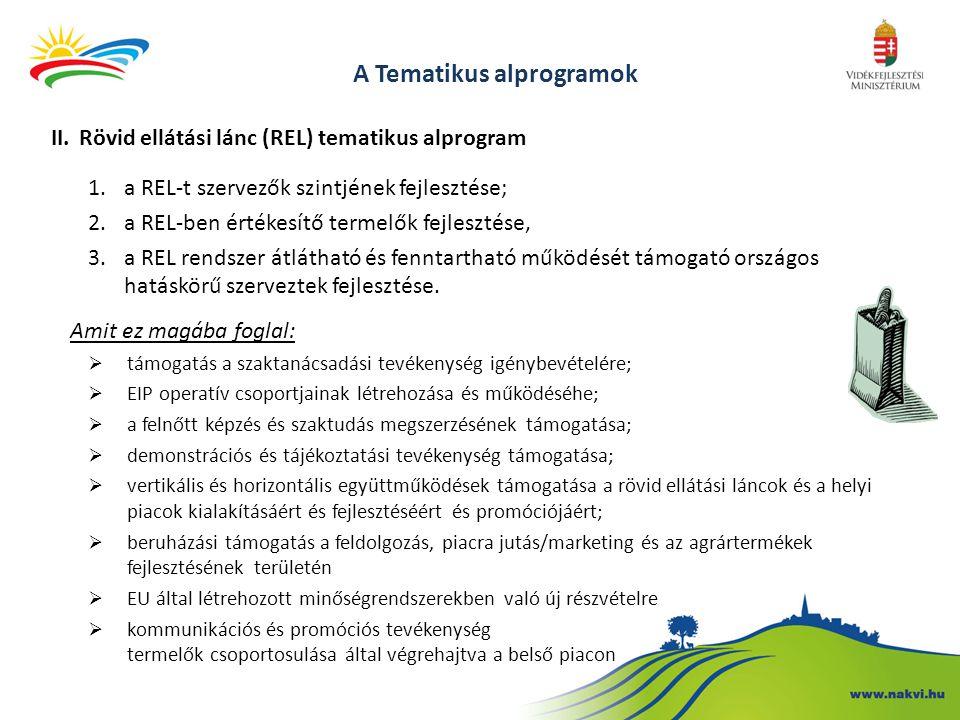 A Tematikus alprogramok II.Rövid ellátási lánc (REL) tematikus alprogram 1.a REL-t szervezők szintjének fejlesztése; 2.a REL-ben értékesítő termelők f
