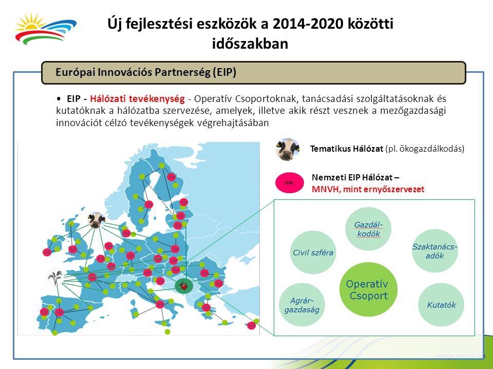 Új fejlesztési eszközök a 2014-2020 közötti időszakban EIP - Hálózati tevékenység - Operatív Csoportoknak, tanácsadási szolgáltatásoknak és kutatóknak