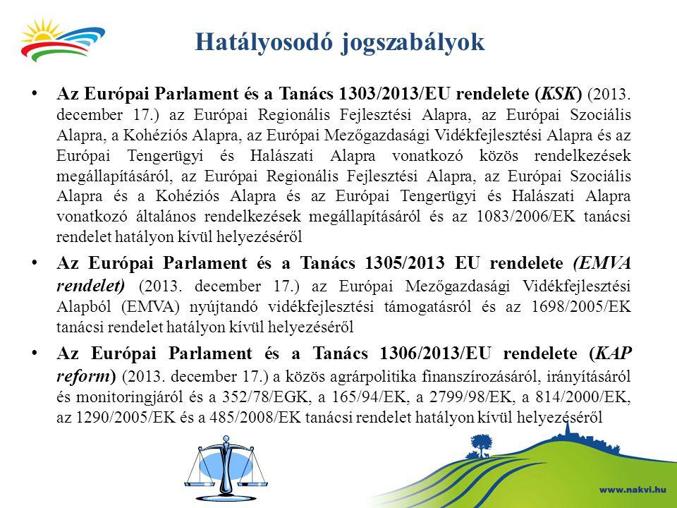 Hatályosodó jogszabályok Az Európai Parlament és a Tanács 1303/2013/EU rendelete (KSK) (2013. december 17.) az Európai Regionális Fejlesztési Alapra,