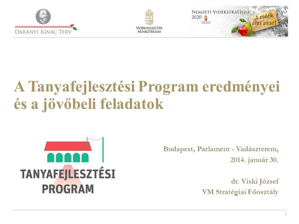 1 A Tanyafejlesztési Program eredményei és a jövőbeli feladatok Budapest, Parlament - Vadászterem, 2014. január 30. dr. Viski József VM Stratégiai Főo