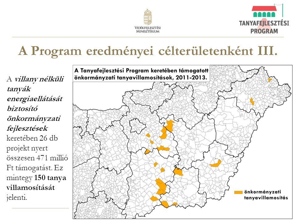 12 A Program eredményei célterületenként III. A villany nélküli tanyák energiaellátását biztosító önkormányzati fejlesztések keretében 26 db projekt n