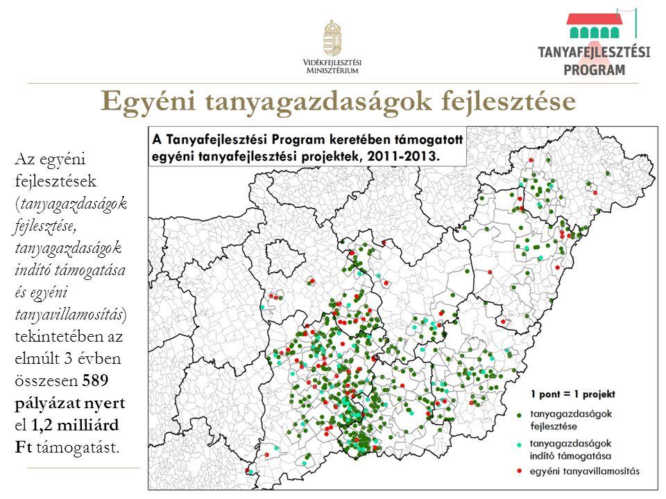 13 Egyéni tanyagazdaságok fejlesztése Az egyéni fejlesztések (tanyagazdaságok fejlesztése, tanyagazdaságok indító támogatása és egyéni tanyavillamosít
