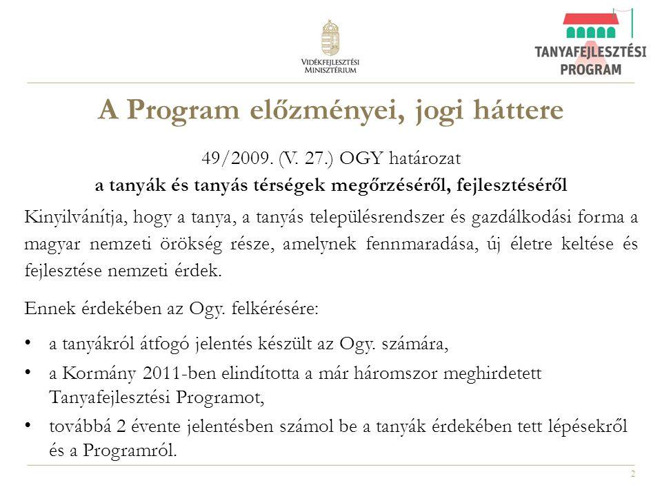 2 A Program előzményei, jogi háttere 49/2009. (V. 27.) OGY határozat a tanyák és tanyás térségek megőrzéséről, fejlesztéséről Kinyilvánítja, hogy a ta