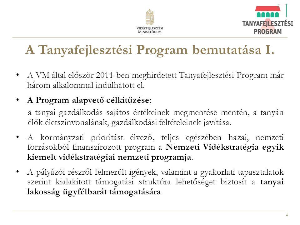 4 A Tanyafejlesztési Program bemutatása I. A VM által először 2011-ben meghirdetett Tanyafejlesztési Program már három alkalommal indulhatott el. A Pr
