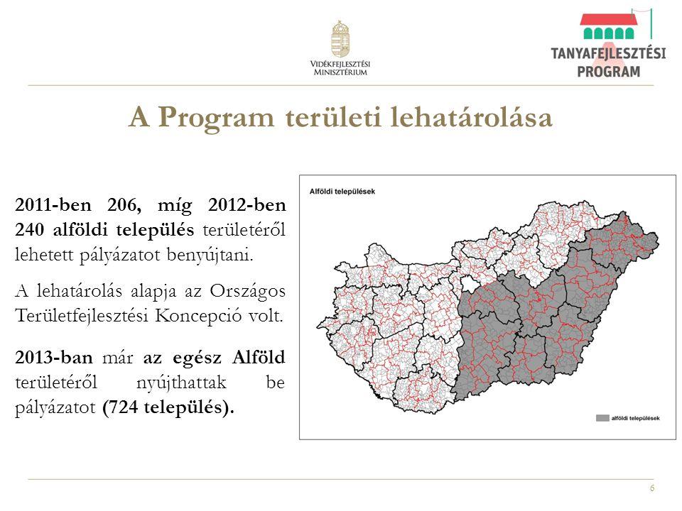 6 A Program területi lehatárolása 2011-ben 206, míg 2012-ben 240 alföldi település területéről lehetett pályázatot benyújtani. A lehatárolás alapja az