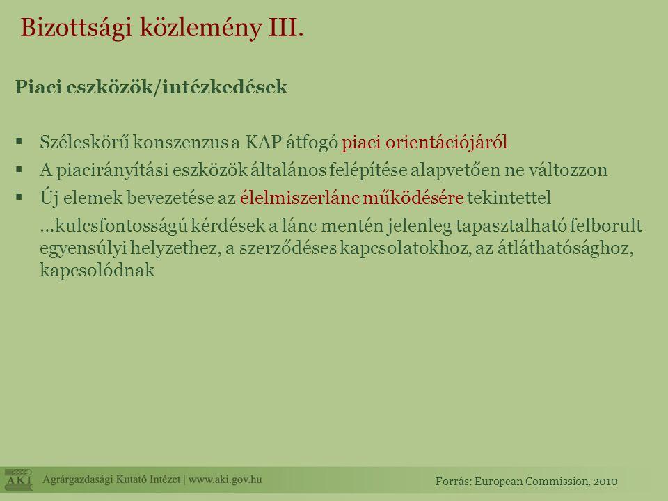 Bizottsági közlemény III. Piaci eszközök/intézkedések  Széleskörű konszenzus a KAP átfogó piaci orientációjáról  A piacirányítási eszközök általános