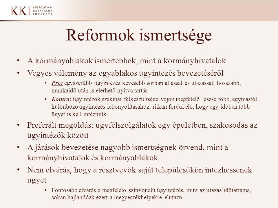 Reformok ismertsége A kormányablakok ismertebbek, mint a kormányhivatalok Vegyes vélemény az egyablakos ügyintézés bevezetéséről Pro: egyszerűbb ügyintézés kevesebb sorban állással és utazással; hosszabb, munkaidő után is elérhető nyitva tartás Kontra: ügyintézők szakmai felkészültsége vajon megfelelő lesz-e több, egymástól különböző ügyintézés lebonyolításához; ritkán fordul elő, hogy egy időben több ügyet is kell intézniük Preferált megoldás: ügyfélszolgálatok egy épületben, szakosodás az ügyintézők között A járások bevezetése nagyobb ismertségnek örvend, mint a kormányhivatalok és kormányablakok Nem elvárás, hogy a résztvevők saját településükön intézhessenek ügyet Fontosabb elvárás a megfelelő színvonalú ügyintézés, mint az utazás időtartama, sokan hajlandóak ezért a megyeszékhelyekre elutazni