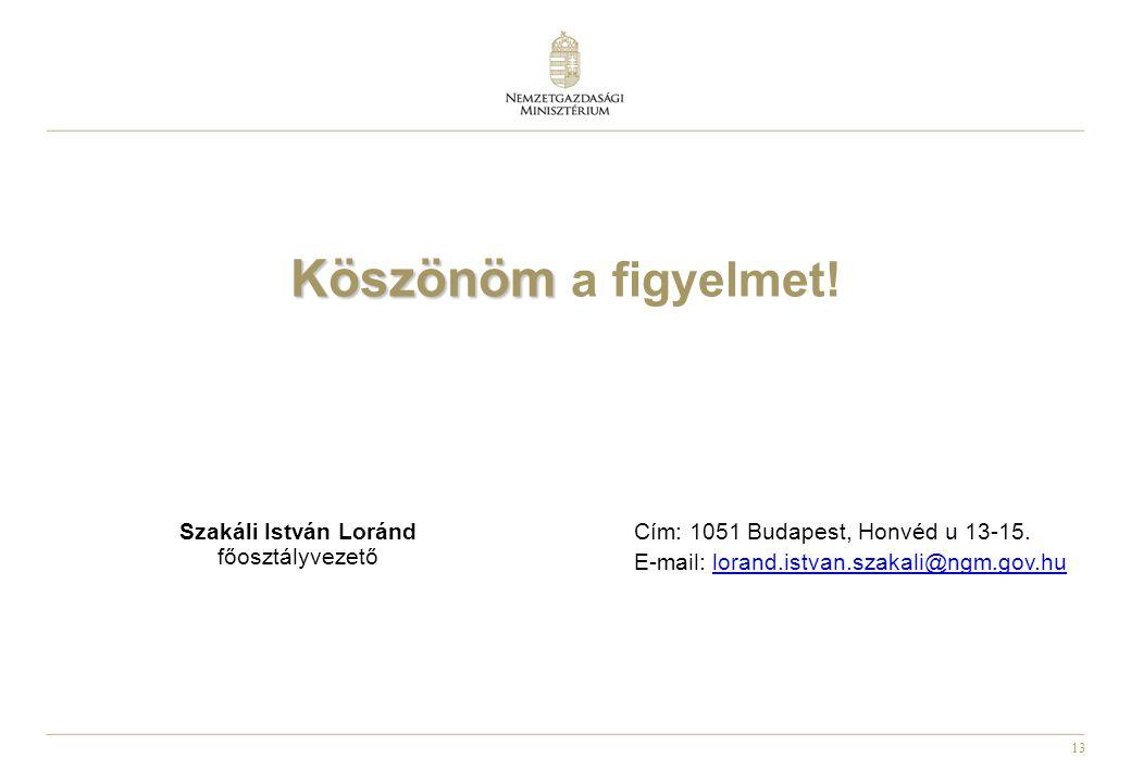 13 Köszönöm Köszönöm a figyelmet! Szakáli István Loránd főosztályvezető Cím: 1051 Budapest, Honvéd u 13-15. E-mail: lorand.istvan.szakali@ngm.gov.hulo