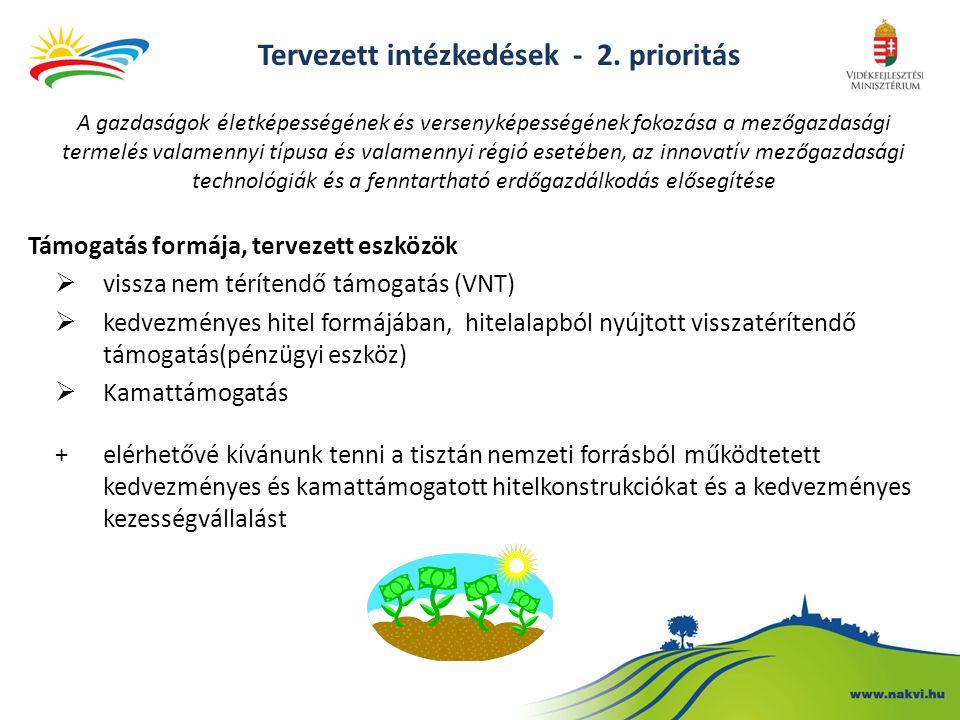 Támogatás formája, tervezett eszközök  vissza nem térítendő támogatás (VNT)  kedvezményes hitel formájában, hitelalapból nyújtott visszatérítendő támogatás(pénzügyi eszköz)  Kamattámogatás +elérhetővé kívánunk tenni a tisztán nemzeti forrásból működtetett kedvezményes és kamattámogatott hitelkonstrukciókat és a kedvezményes kezességvállalást A gazdaságok életképességének és versenyképességének fokozása a mezőgazdasági termelés valamennyi típusa és valamennyi régió esetében, az innovatív mezőgazdasági technológiák és a fenntartható erdőgazdálkodás elősegítése Tervezett intézkedések - 2.