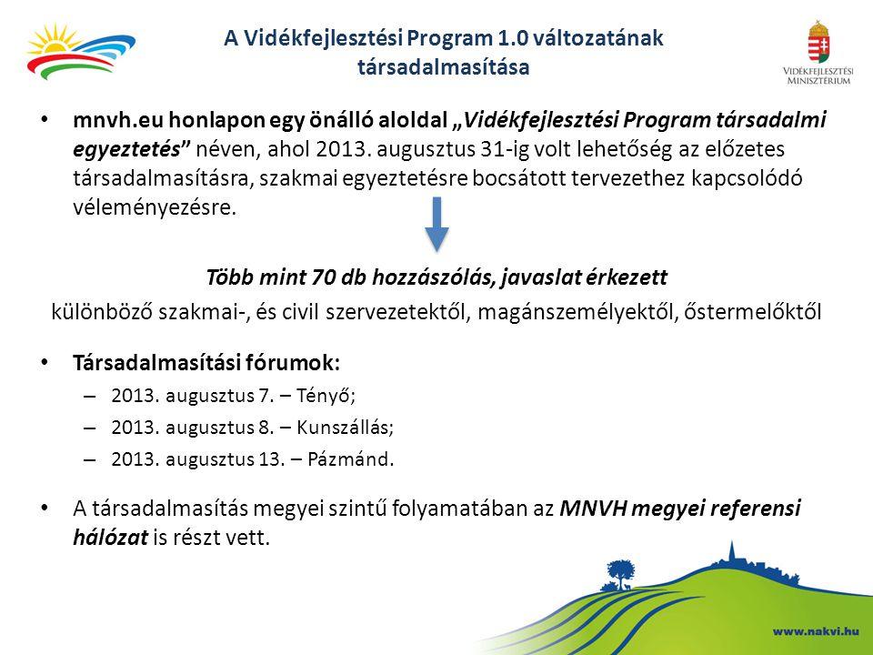 """A Vidékfejlesztési Program 1.0 változatának társadalmasítása mnvh.eu honlapon egy önálló aloldal """"Vidékfejlesztési Program társadalmi egyeztetés néven, ahol 2013."""