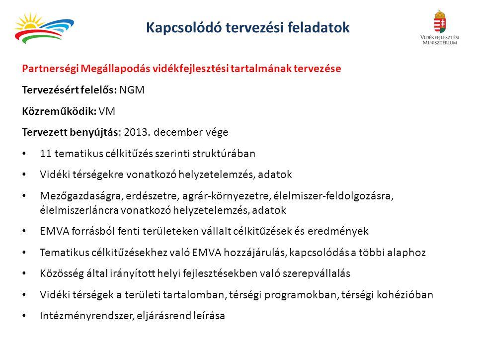 Kapcsolódó tervezési feladatok Partnerségi Megállapodás vidékfejlesztési tartalmának tervezése Tervezésért felelős: NGM Közreműködik: VM Tervezett benyújtás: 2013.