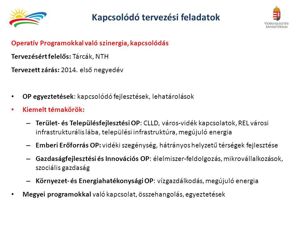 Kapcsolódó tervezési feladatok Operatív Programokkal való szinergia, kapcsolódás Tervezésért felelős: Tárcák, NTH Tervezett zárás: 2014.