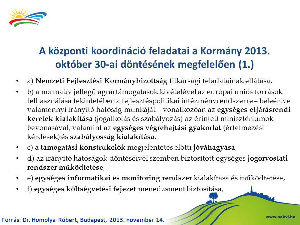 a) Nemzeti Fejlesztési Kormánybizottság titkársági feladatainak ellátása, b) a normatív jellegű agrártámogatások kivételével az európai uniós források felhasználása tekintetében a fejlesztéspolitikai intézményrendszerre – beleértve valamennyi irányító hatóság munkáját – vonatkozóan az egységes eljárásrendi keretek kialakítása (jogalkotás és szabályozás) az érintett minisztériumok bevonásával, valamint az egységes végrehajtási gyakorlat (értelmezési kérdések) és szabályosság kialakítása, c) a támogatási konstrukciók megjelentetés előtti jóváhagyása, d) az irányító hatóságok döntéseivel szemben biztosított egységes jogorvoslati rendszer működtetése, e) egységes informatikai és monitoring rendszer kialakítása és működtetése, f) egységes költségvetési fejezet menedzsment biztosítása, A központi koordináció feladatai a Kormány 2013.