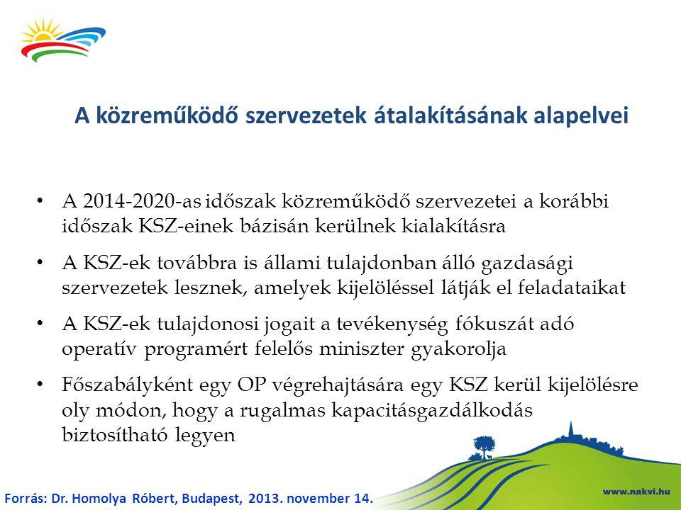 A 2014-2020-as időszak közreműködő szervezetei a korábbi időszak KSZ-einek bázisán kerülnek kialakításra A KSZ-ek továbbra is állami tulajdonban álló gazdasági szervezetek lesznek, amelyek kijelöléssel látják el feladataikat A KSZ-ek tulajdonosi jogait a tevékenység fókuszát adó operatív programért felelős miniszter gyakorolja Főszabályként egy OP végrehajtására egy KSZ kerül kijelölésre oly módon, hogy a rugalmas kapacitásgazdálkodás biztosítható legyen A közreműködő szervezetek átalakításának alapelvei Forrás: Dr.