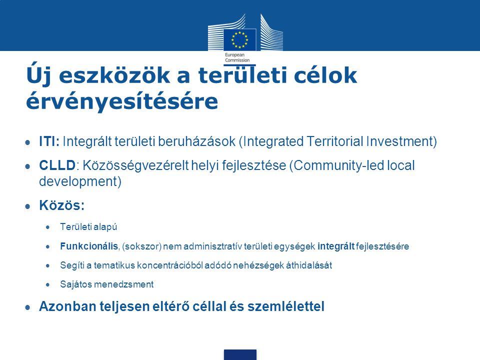 Új eszközök a területi célok érvényesítésére  ITI: Integrált területi beruházások (Integrated Territorial Investment)  CLLD: Közösségvezérelt helyi