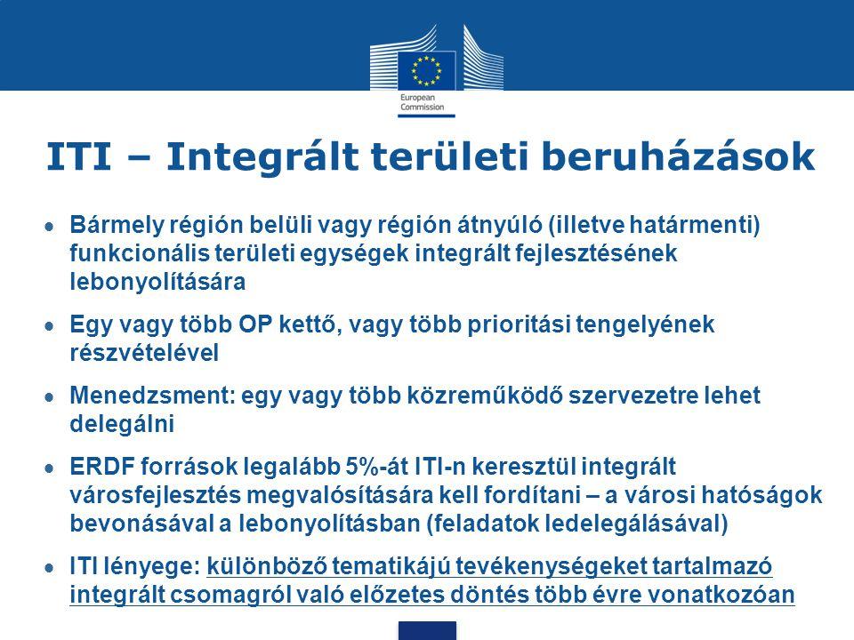 ITI – Integrált területi beruházások  Bármely régión belüli vagy régión átnyúló (illetve határmenti) funkcionális területi egységek integrált fejlesz