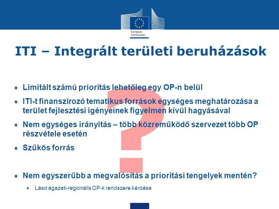 ? ITI – Integrált területi beruházások  Limitált számú prioritás lehetőleg egy OP-n belül  ITI-t finanszírozó tematikus források egységes meghatároz