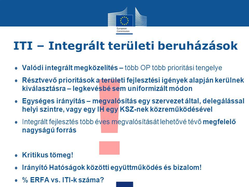 ! ITI – Integrált területi beruházások  Valódi integrált megközelítés – több OP több prioritási tengelye  Résztvevő prioritások a területi fejleszté