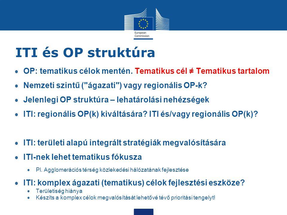 ITI és OP struktúra  OP: tematikus célok mentén. Tematikus cél ≠ Tematikus tartalom  Nemzeti szintű (