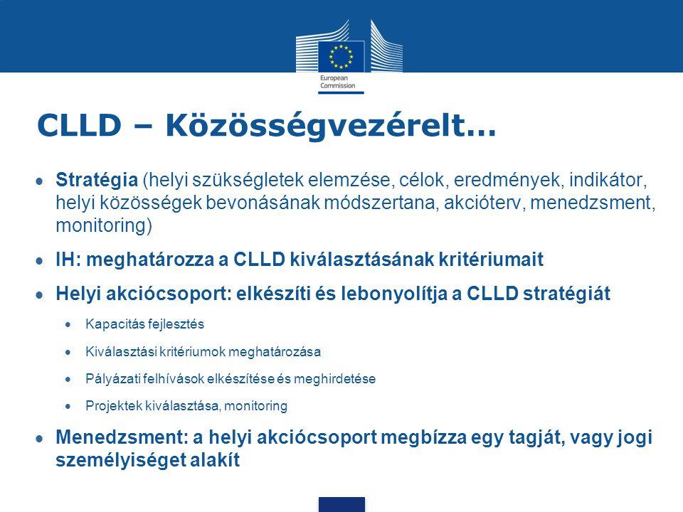 CLLD – Közösségvezérelt…  Stratégia (helyi szükségletek elemzése, célok, eredmények, indikátor, helyi közösségek bevonásának módszertana, akcióterv,