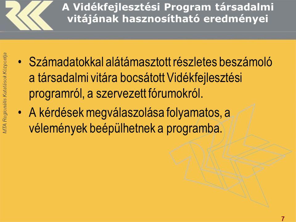 MTA Regionális Kutatások Központja Az ÚMVP-DIT 3-4.