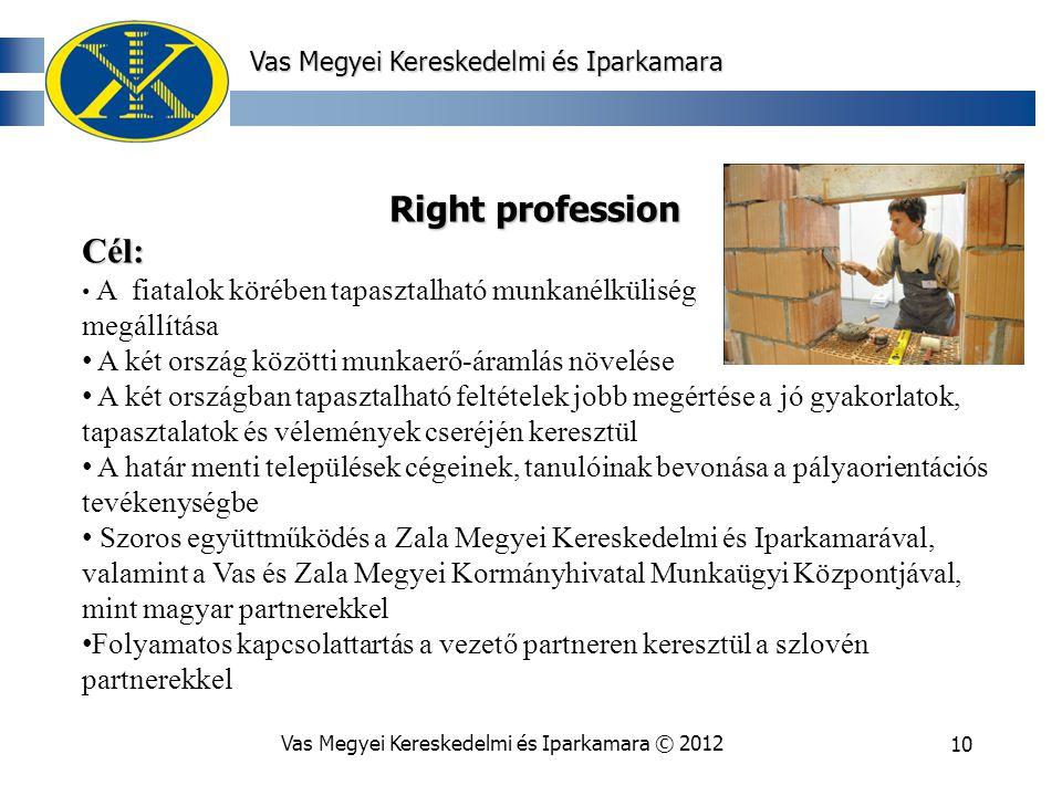 Vas Megyei Kereskedelmi és Iparkamara © 201210 Vas Megyei Kereskedelmi és Iparkamara Right profession Cél: A fiatalok körében tapasztalható munkanélküliség megállítása A két ország közötti munkaerő-áramlás növelése A két országban tapasztalható feltételek jobb megértése a jó gyakorlatok, tapasztalatok és vélemények cseréjén keresztül A határ menti települések cégeinek, tanulóinak bevonása a pályaorientációs tevékenységbe Szoros együttműködés a Zala Megyei Kereskedelmi és Iparkamarával, valamint a Vas és Zala Megyei Kormányhivatal Munkaügyi Központjával, mint magyar partnerekkel Folyamatos kapcsolattartás a vezető partneren keresztül a szlovén partnerekkel