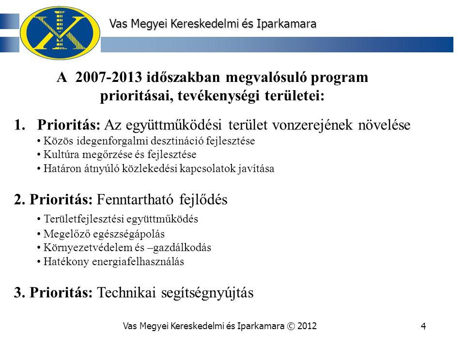 Vas Megyei Kereskedelmi és Iparkamara © 20124 Vas Megyei Kereskedelmi és Iparkamara A 2007-2013 időszakban megvalósuló program prioritásai, tevékenységi területei: 1.Prioritás: Az együttműködési terület vonzerejének növelése Közös idegenforgalmi desztináció fejlesztése Kultúra megőrzése és fejlesztése Határon átnyúló közlekedési kapcsolatok javítása 2.