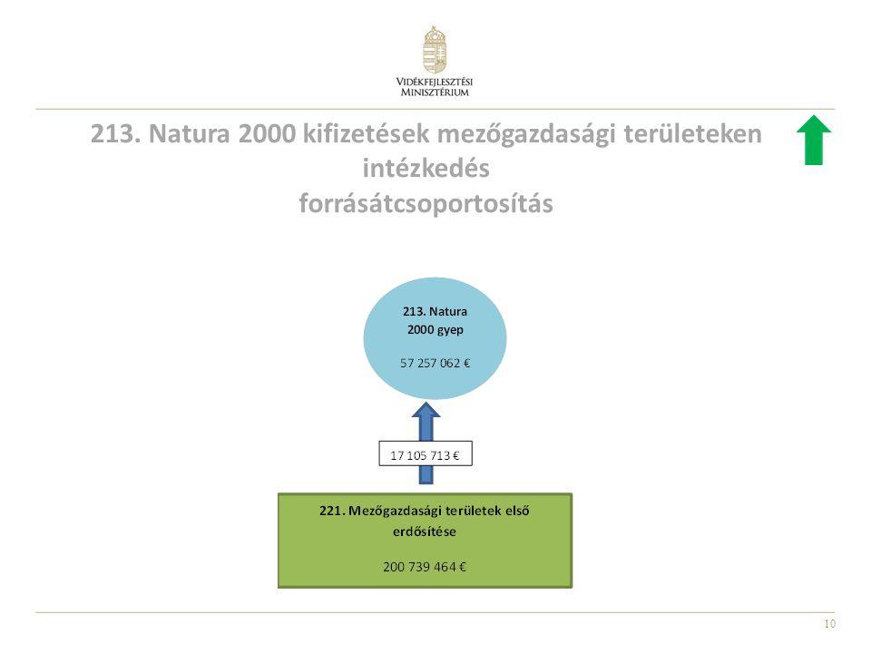10 213. Natura 2000 kifizetések mezőgazdasági területeken intézkedés forrásátcsoportosítás