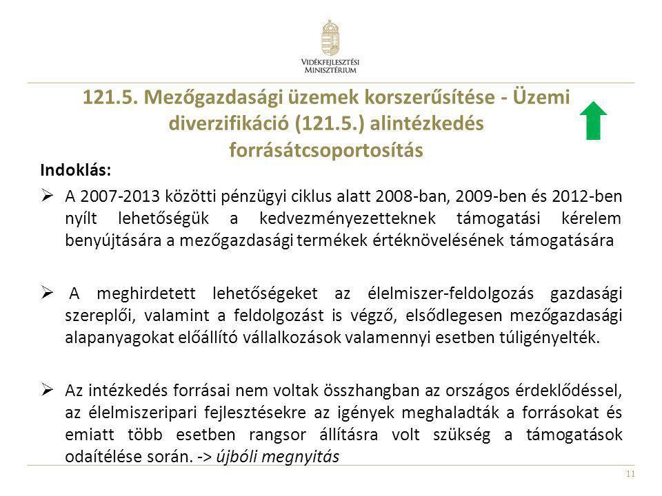 11 121.5. Mezőgazdasági üzemek korszerűsítése - Üzemi diverzifikáció (121.5.) alintézkedés forrásátcsoportosítás Indoklás:  A 2007-2013 közötti pénzü
