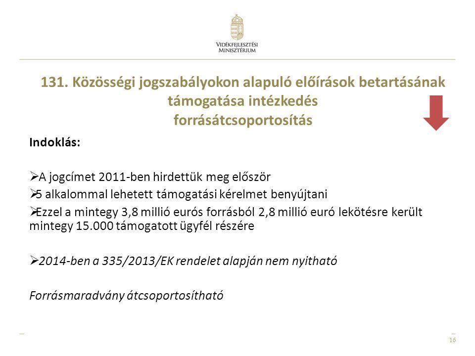16 Indoklás:  A jogcímet 2011-ben hirdettük meg először  5 alkalommal lehetett támogatási kérelmet benyújtani  Ezzel a mintegy 3,8 millió eurós for