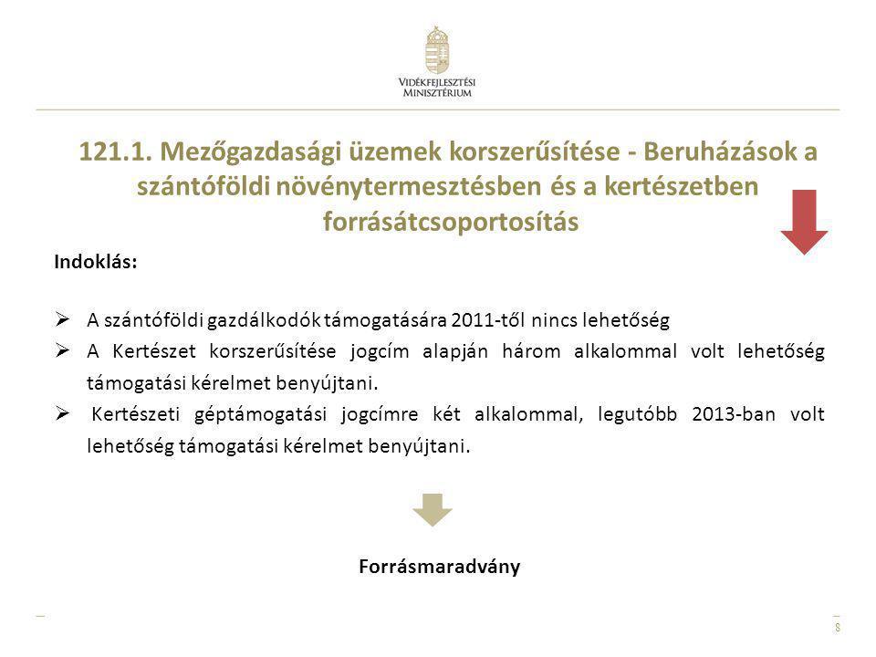 8 Indoklás:  A szántóföldi gazdálkodók támogatására 2011-től nincs lehetőség  A Kertészet korszerűsítése jogcím alapján három alkalommal volt lehető