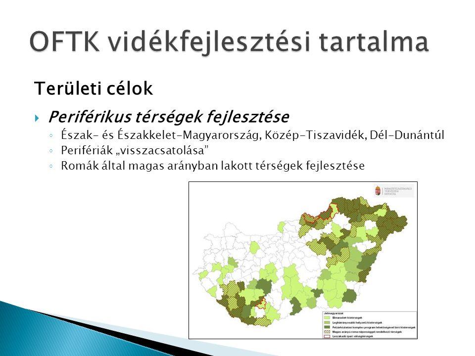 """Területi célok  Periférikus térségek fejlesztése ◦ Észak- és Északkelet-Magyarország, Közép-Tiszavidék, Dél-Dunántúl ◦ Perifériák """"visszacsatolása"""" ◦"""