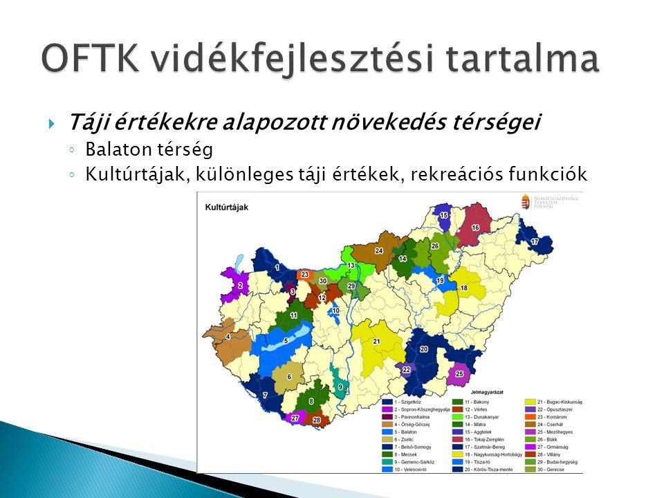  Táji értékekre alapozott növekedés térségei ◦ Balaton térség ◦ Kultúrtájak, különleges táji értékek, rekreációs funkciók