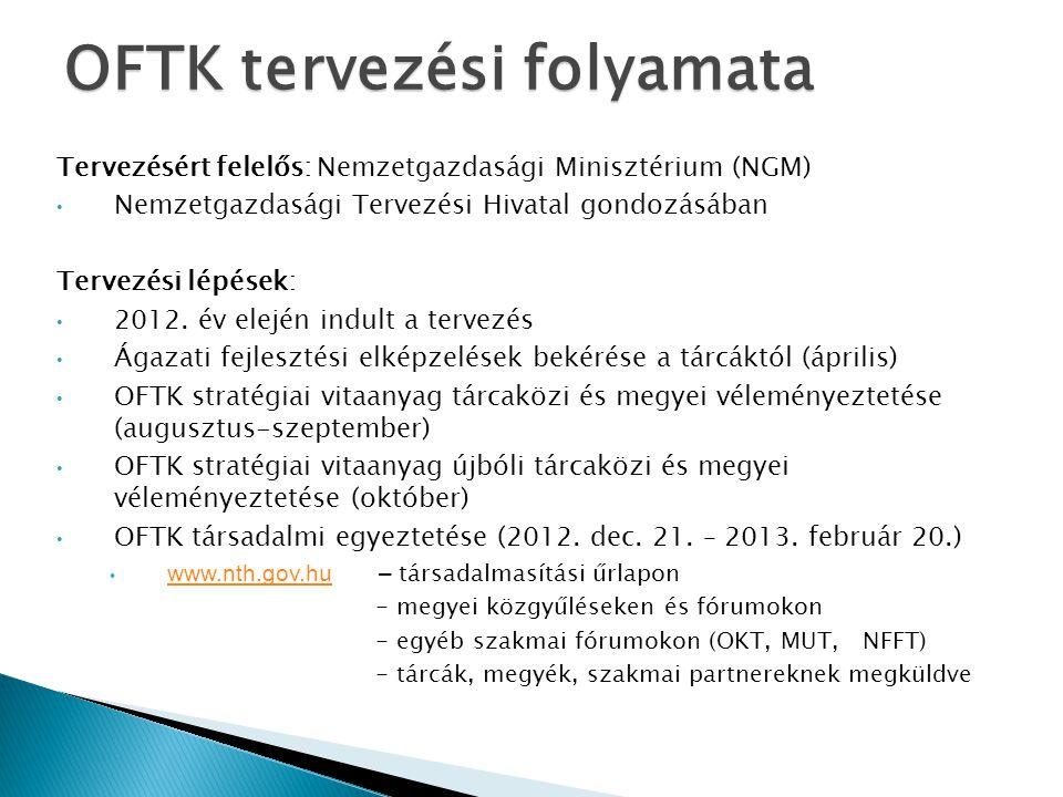 OFTK tervezési folyamata Tervezésért felelős: Nemzetgazdasági Minisztérium (NGM) Nemzetgazdasági Tervezési Hivatal gondozásában Tervezési lépések: 201