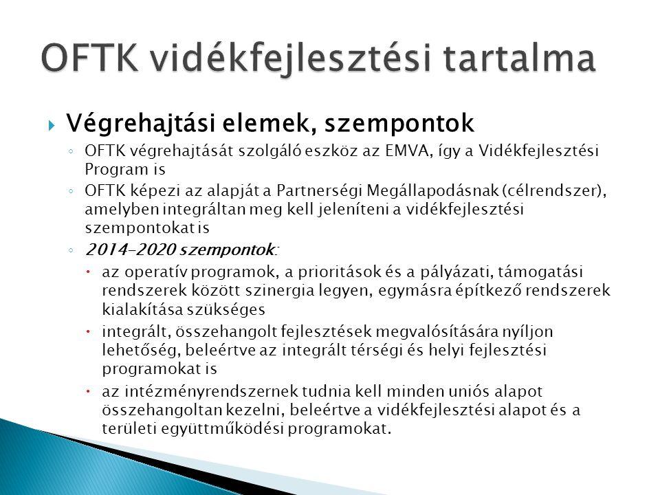  Végrehajtási elemek, szempontok ◦ OFTK végrehajtását szolgáló eszköz az EMVA, így a Vidékfejlesztési Program is ◦ OFTK képezi az alapját a Partnersé